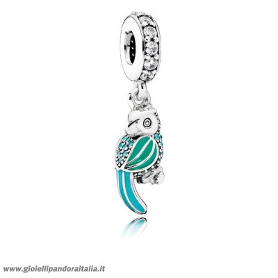 Vendita Animali Charms Tropicale Parrot Penzolare Charm Smalto Mistos Teal Clear Cz On Line